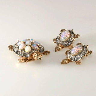Boucher Turtles Brooch Pin Clip and Earrings Faux Opals and Rhinestones Preview