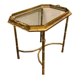 Vintage Hollywood Regency Brass Bamboo Tray Table For Sale