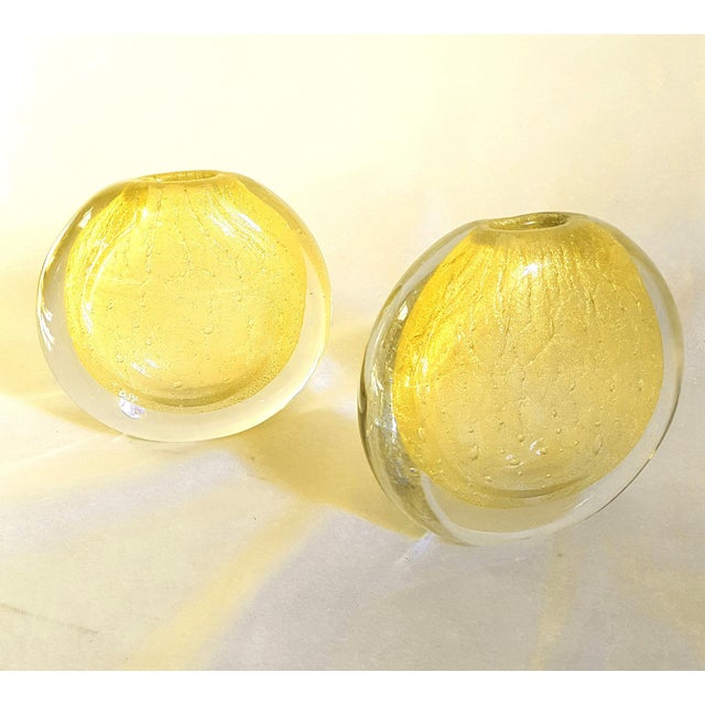 1970s Vinage Round Gold Murano Glass Vases, by Seguso- A Pair For Sale - Image 9 of 10