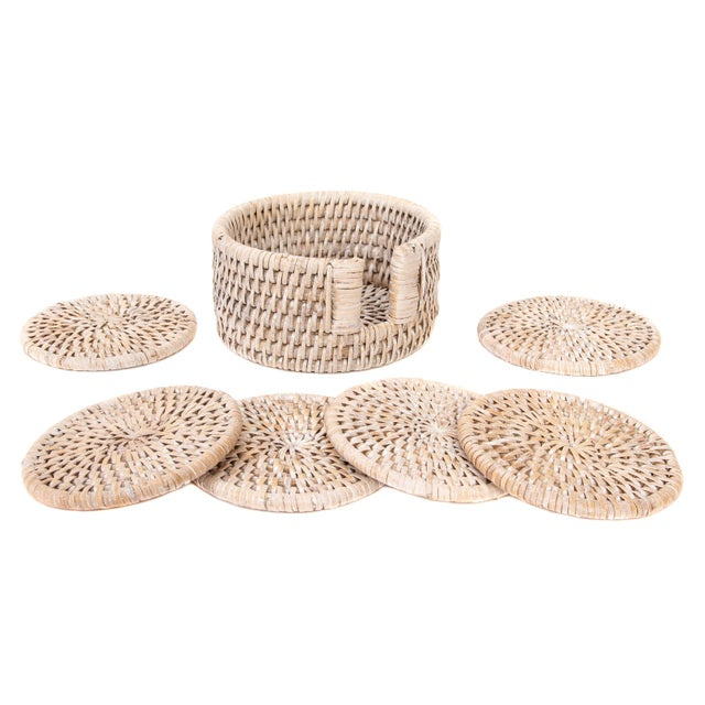 Boho Chic Artifacts Rattan 7-Piece Round Coaster Set For Sale - Image 3 of 3