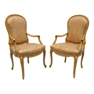 Vintage Mid Century Italian Provincial Upholstered Dining Room Arm Chairs- A Pair For Sale