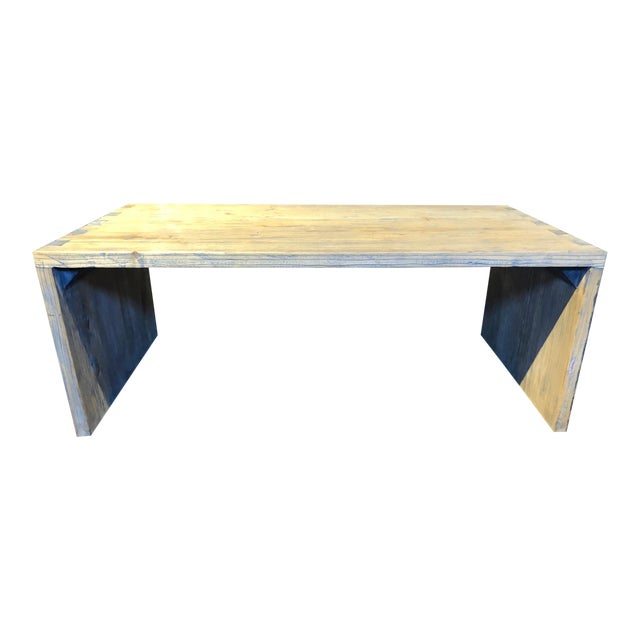 Washed Elm Wood Coffee Table For Sale