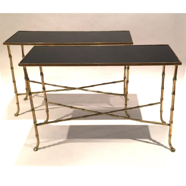 Asian Hollywood Regency Gilt Bamboo Tables - a Pair For Sale - Image 3 of 6