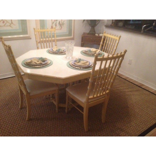 Asian Vintage Thomasville Faux Bamboo Dining Chairs - a Pair Hollywood Regency For Sale - Image 3 of 3