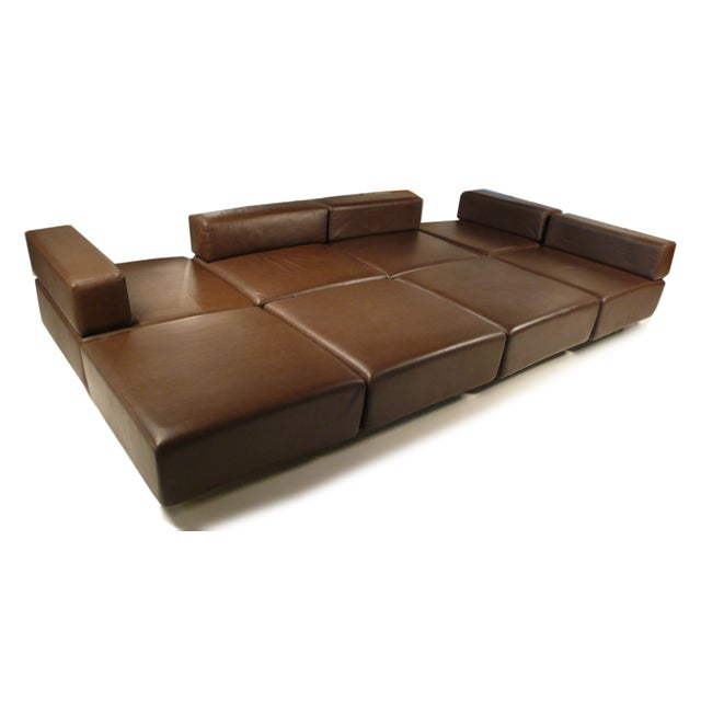 Harvey Probber Chocolate Brown Leather 'Cubo' Sectional Sofa - Image 6 of 9