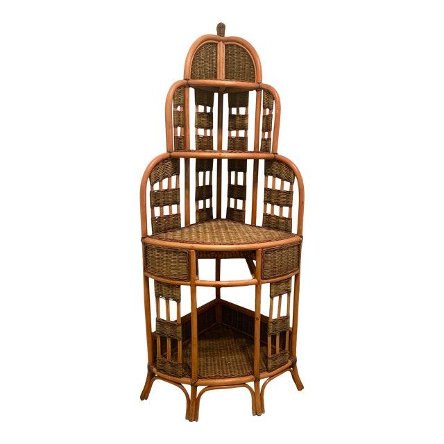 Vintage Rattan Corner Cabinet For Sale