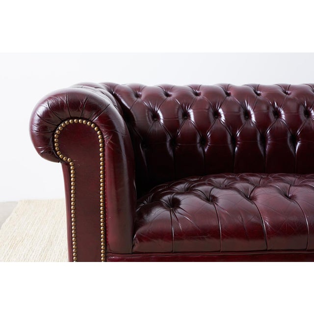 English Cordovan Tufted Leather Chesterfield Sofa For Sale - Image 4 of 13