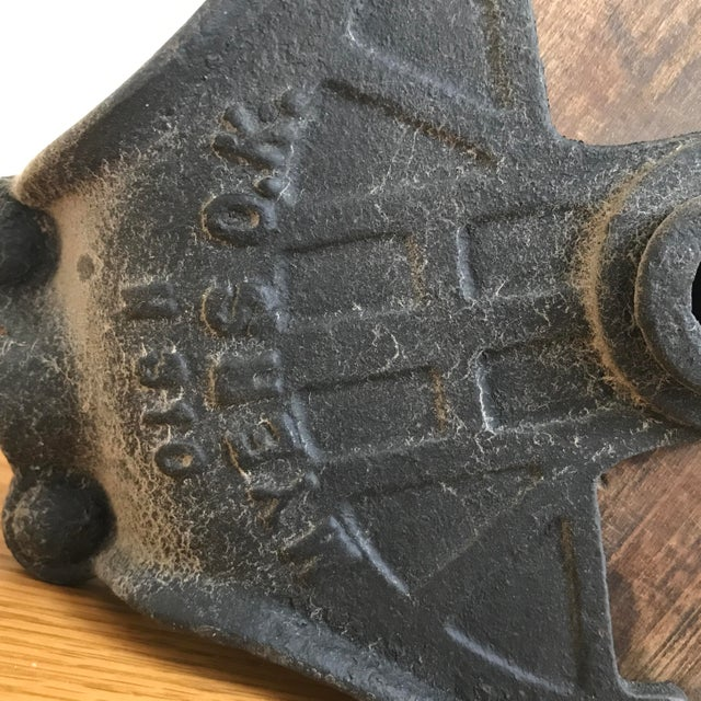 Traditional Antique Cast Iron and Wood Pulley For Sale - Image 3 of 6