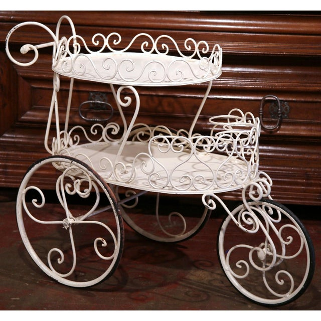 Early 20th Century French Painted Iron Two-Tier Bar Cart on Wheels for Patio - Image 5 of 8