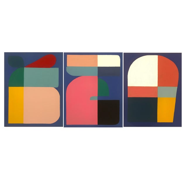 2019 Brooks Burns Abstract Geometric Triptych - Set of 3 For Sale - Image 11 of 11