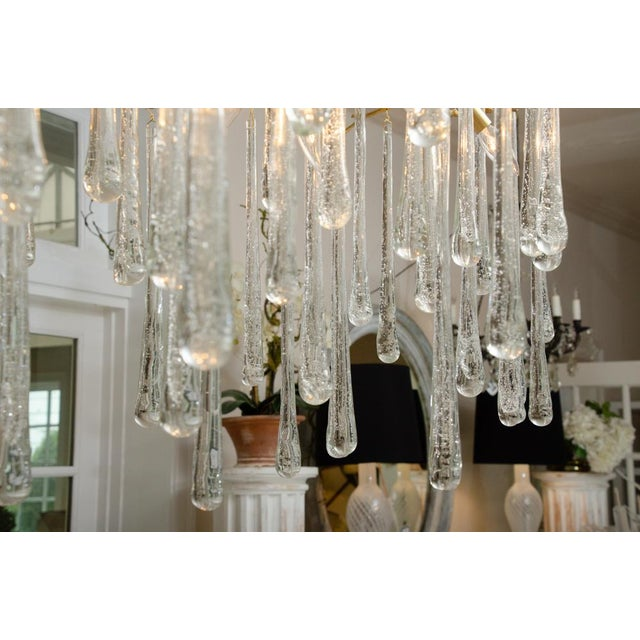 Gilt Metal Chandelier With Crystal Drops For Sale - Image 4 of 10