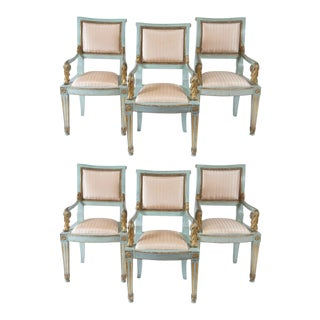 Italian Parcel-Gilt and Painted Armchairs, Circa 1800 - Set of 6 For Sale