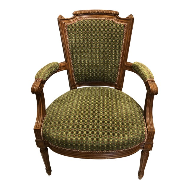 Brunschwig & Fils French Carved Chair (Upholstery Like New) For Sale
