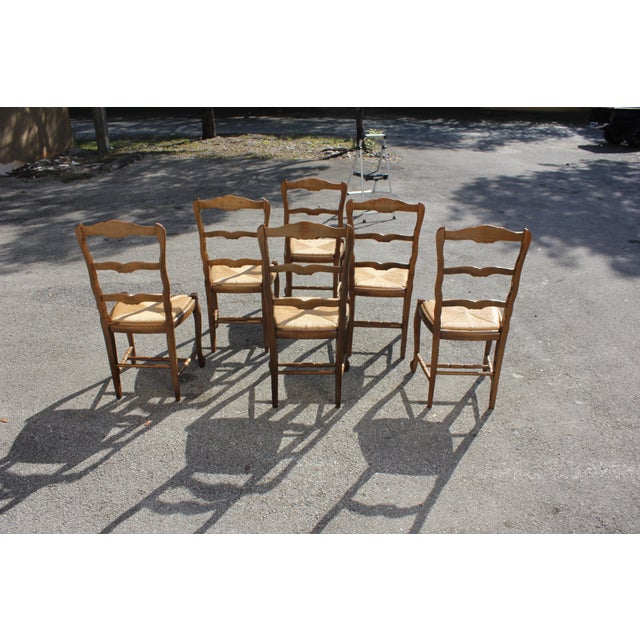 1910s 1910s Vintage French Country Rush Seat Solid Walnut Dining Chairs - Set of 6 For Sale - Image 5 of 13