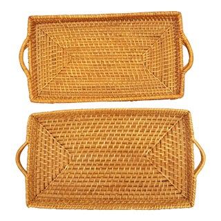 Handled Rattan Serving Trays - A Pair