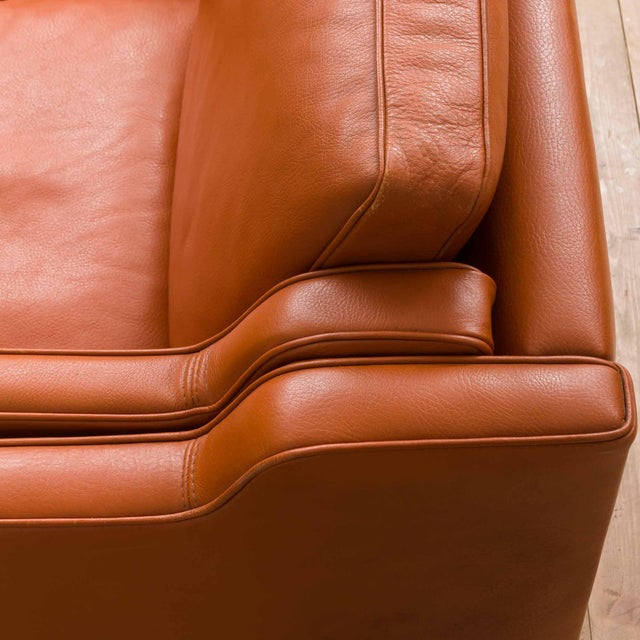 Wood 1970s Vintage Stouby Cognac Leather 3 Seat Sofa For Sale - Image 7 of 12