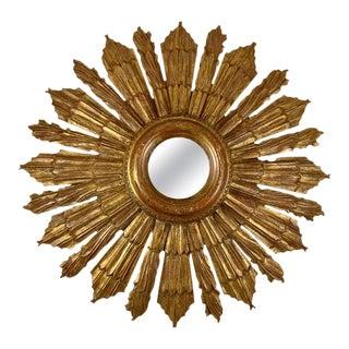 French Hollywood Regency Giltwood Sunburst Mirror For Sale
