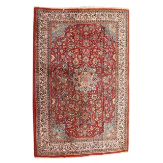 Vintage Handmade Persian Sarouk Rug - 7' X 10' For Sale
