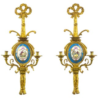 Pair of French Gilt Bronze and Sevres Sconces For Sale