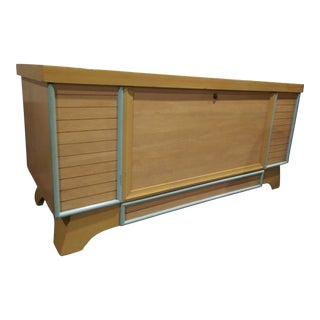 1940s Vintage Lane Danish Modern Blonde Yellow Lane Cedar Chest For Sale