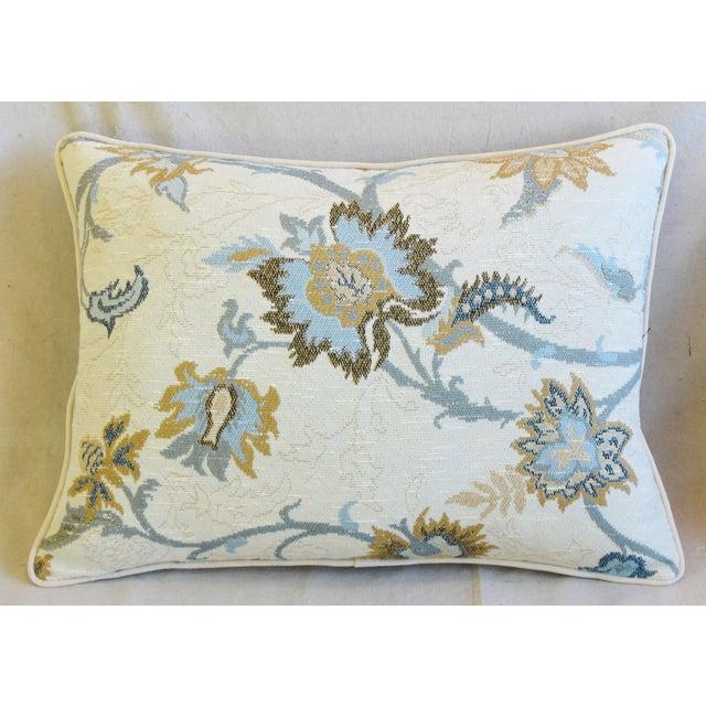 "Art Deco Designer Italian Floral Linen Velvet Feather/Down Pillows 24"" X 18"" - Pair For Sale - Image 3 of 13"