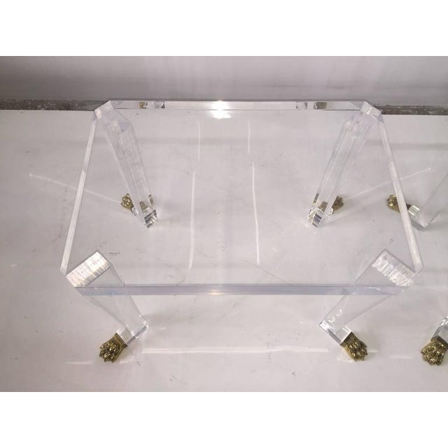 Pair of Custom Designed Lion Feet on Acrylic Side Tables For Sale In Miami - Image 6 of 8