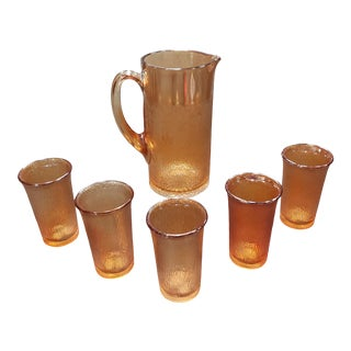 1930s Jeanette Marigold Carnival Glass Tree Bark Pitcher and 5 Glasses Set - Set of 6 For Sale