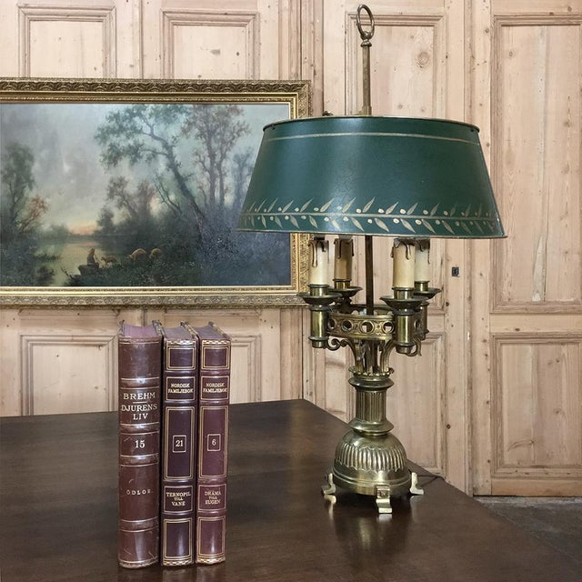 Belle Epoque Antique French Art Deco Period Bronze Bouillote Lamp With Shade For Sale - Image 3 of 11