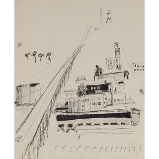 Jack Freeman Bay Area Cityscape in Ink, Circa 1970s For Sale