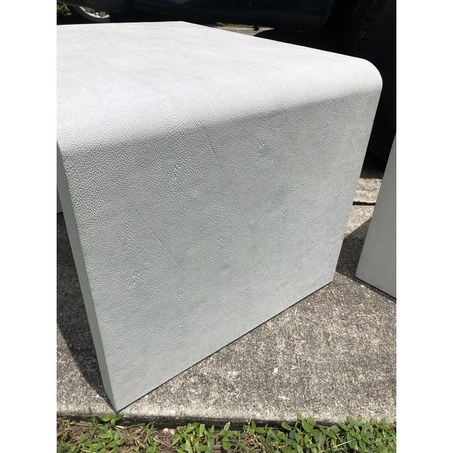 20th Century Modern Made Goods Faux Shagreen Waterfall Side Tables - a Pair For Sale In West Palm - Image 6 of 8