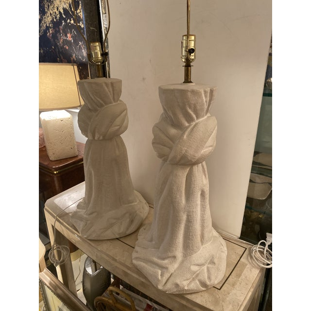 Pair of Plaster Lamps on the Style of John Dickinson For Sale - Image 10 of 13