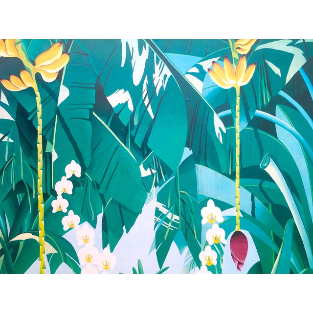 """1980s Vintage 1980 """" Gary Shaw Key West """" Tropical Botanical Lithograph Print Framed Exhibition Poster For Sale - Image 5 of 13"""