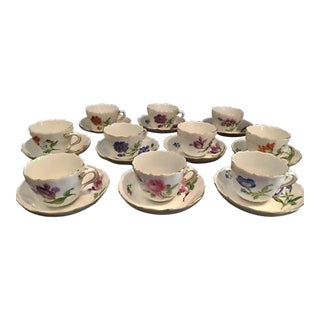 Antique Meissen Demitasse Cups and Saucers - Set of 10 For Sale