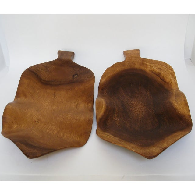 Wood Leaf Accents - a Pair For Sale - Image 4 of 5