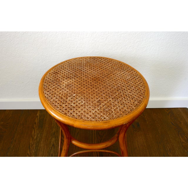 Boho Chic Vintage Rattan and Cane Tables - a Pair For Sale - Image 3 of 10