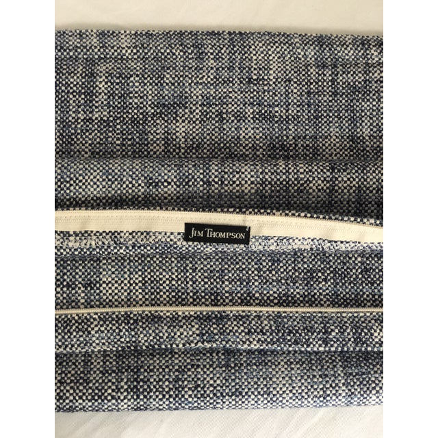 """Blue Pair of 20"""" Cotton Tweed Pillows in Indigo Blue by Jim Thompson For Sale - Image 8 of 10"""