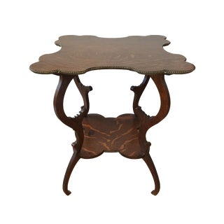 Early 20th Century Antique Carved Clover Side Table For Sale
