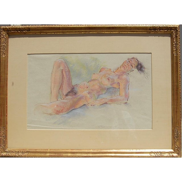 """This is a vintage pastel on paper estate drawing, circa 1960. The piece is entitled""""Sleeping Nude"""" and is signed Weecks...."""