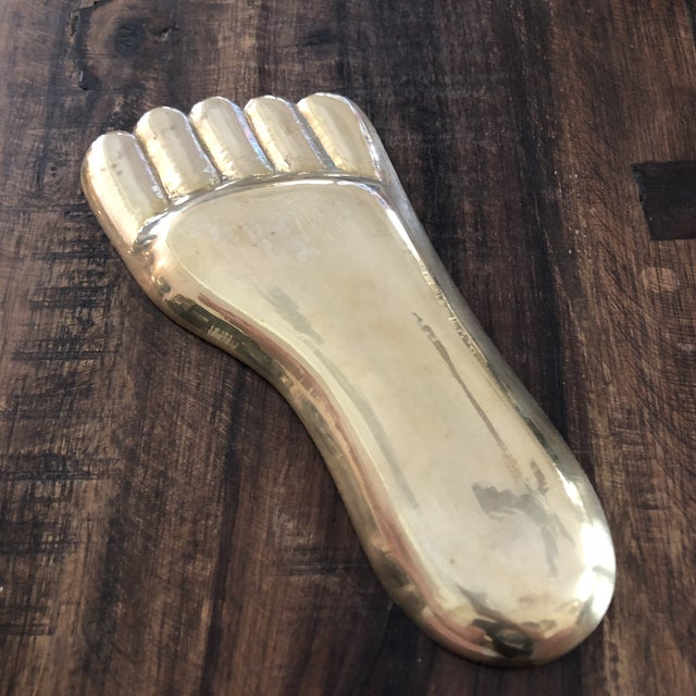 Jonathan Adler Vintage Contemporary Solid Brass Human Foot Tray For Sale - Image 4 of 7