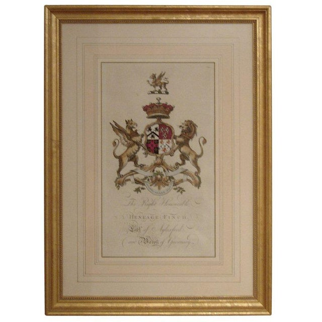 Pair of 18th Century Hand-colored Armorial Engravings For Sale - Image 4 of 4