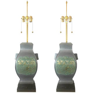 1950s Pair of Marbro Asian Brass and Pewter Lamps For Sale