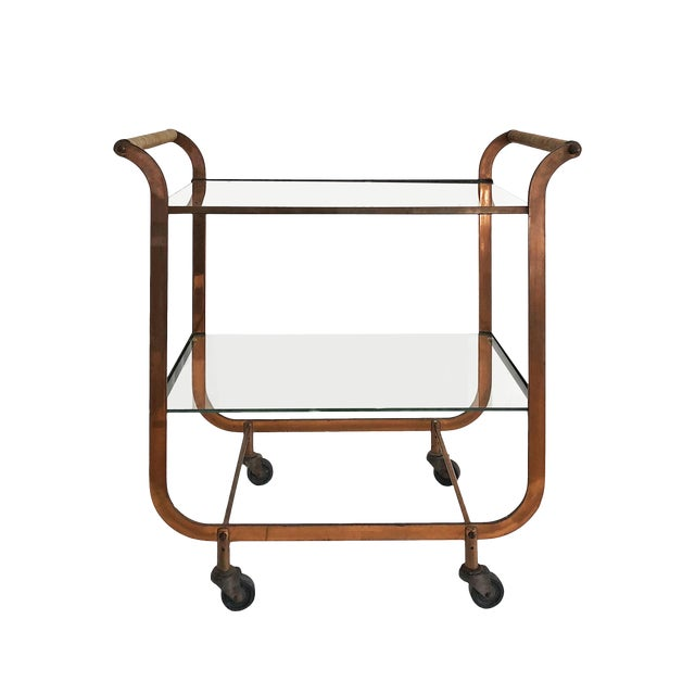 1940s Art Deco Carl Aubock Copper and Rattan Bar Cart For Sale