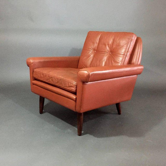 Animal Skin Pair 1960s of Danish Leather Lounge Chairs For Sale - Image 7 of 8