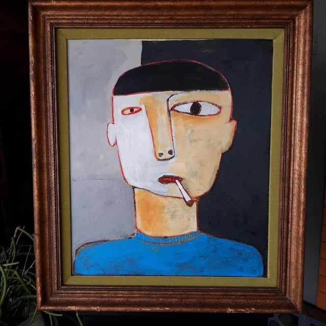 2020s Man Smoking Figurative Portrait Painting For Sale - Image 5 of 5