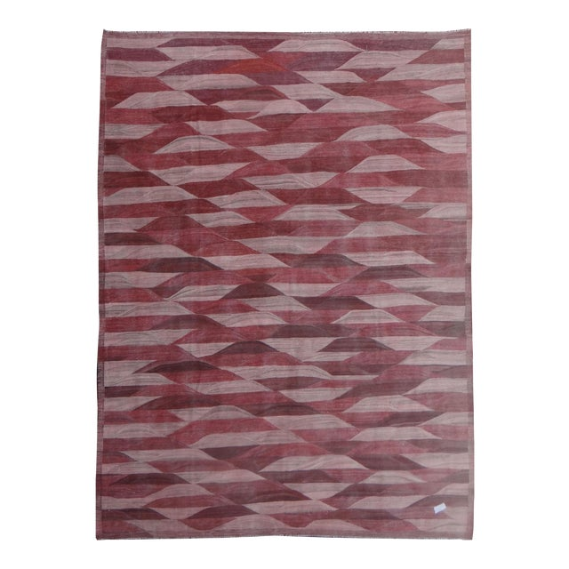 "Hand Knotted Modern Kilim - 13'3"" x 9'11"" For Sale"