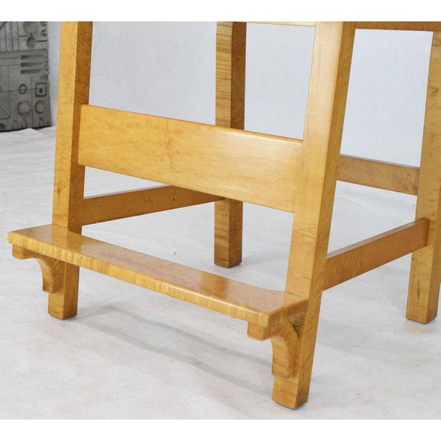 Boho Chic Modern Solid Brid's-Eye Maple High Pool Chairs Bar Stools- A Pair For Sale - Image 3 of 13