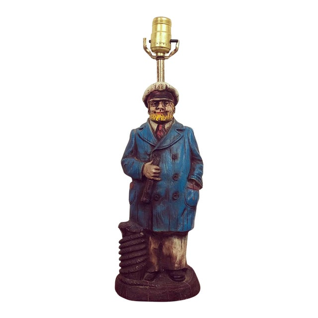 Carved Wood Look Sea Captain Novelty Lamp For Sale