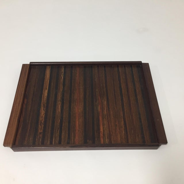 Large rosewood and exotic wood tray by Don Shoemaker for Senal, S.A. Made in Mexico Circa 1960s-70s