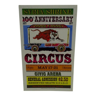 Syria Shrine 100th Anniversary Circus Poster For Sale