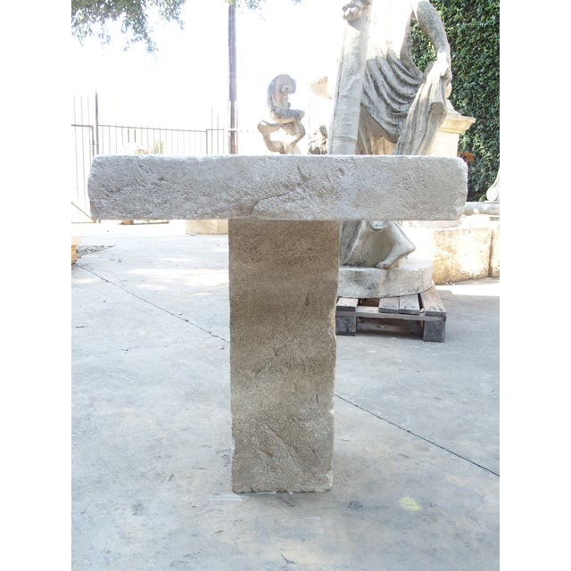 Gray Carved Square Top French Limestone Bistro Table For Sale - Image 8 of 12